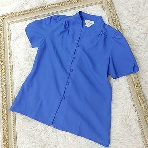 Vintage 1980s Blue Blouse Covered Button Down Sz M